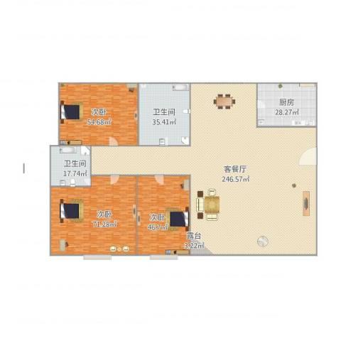 弘基书香园二期3室1厅2卫1厨644.00㎡户型图