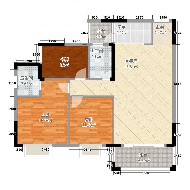 嘉城南岸12.00㎡A户型3室2厅2卫1厨
