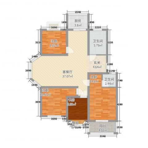 北景园4室1厅2卫1厨136.00㎡户型图