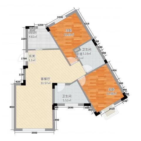 信达-泉天下2室1厅2卫1厨69.83㎡户型图