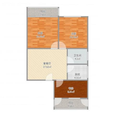 永康苑3室1厅1卫1厨94.00㎡户型图