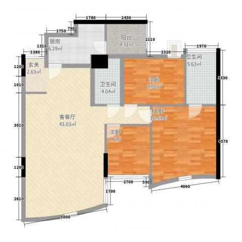 萨菲尔名邸3室1厅2卫1厨137.00㎡户型图