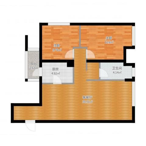 万象上东2室1厅1卫1厨100.00㎡户型图