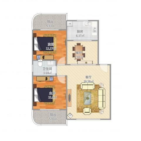联发花园2室2厅1卫1厨82.00㎡户型图