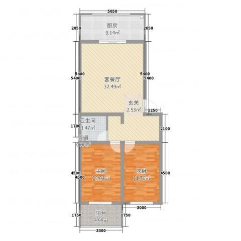 上善水苑2室1厅1卫1厨74.94㎡户型图