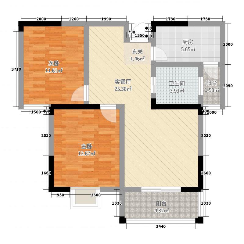 恒丰・城东新城5.00㎡F户型2室2厅1卫1厨