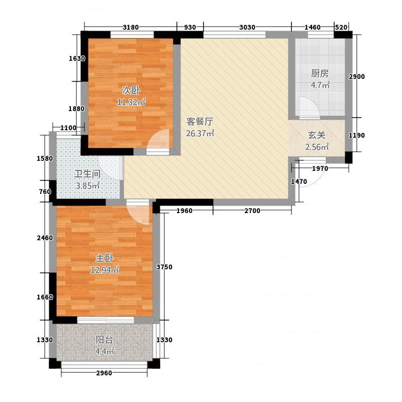 恒丰・城东新城1.56㎡E户型2室1厅1卫1厨
