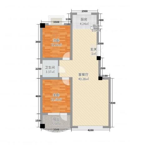 陶瓷家园2室1厅1卫0厨105.00㎡户型图