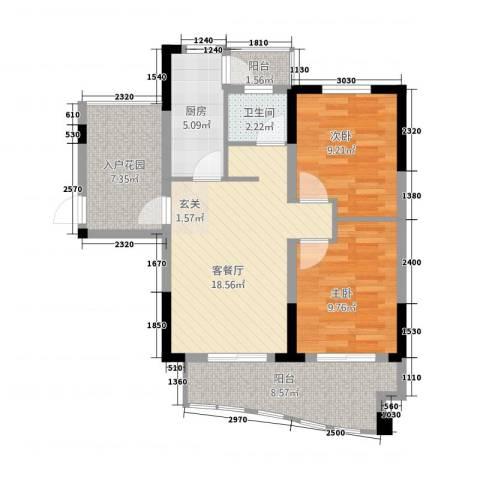 天逸华府2室1厅1卫1厨62.33㎡户型图