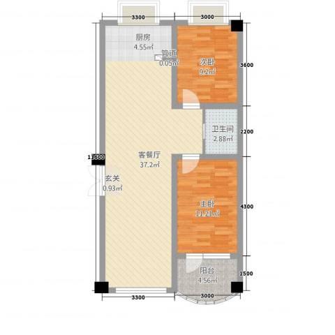 陶瓷家园2室1厅1卫0厨93.00㎡户型图