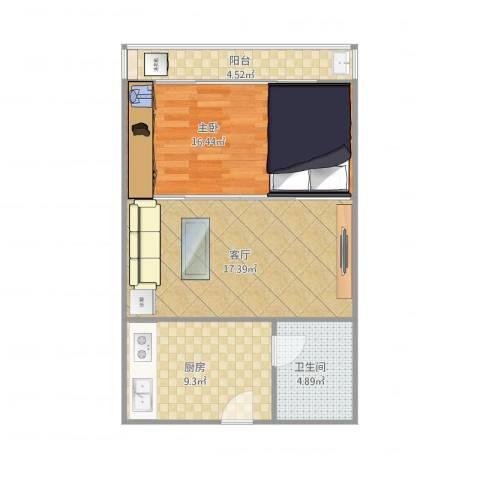 英才商厦一房一厅1室1厅1卫1厨71.00㎡户型图