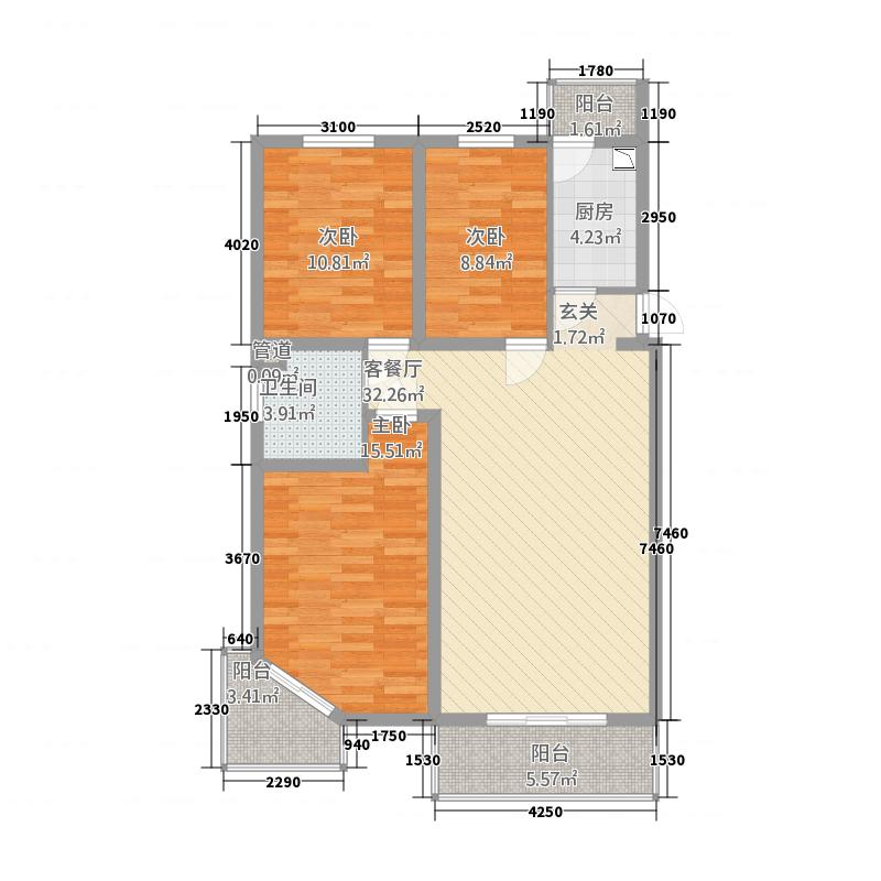 玉河湾118.30㎡210A户型3室2厅1卫1厨