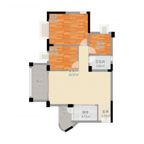 四洲城市经典3室1厅1卫1厨118.00㎡户型图