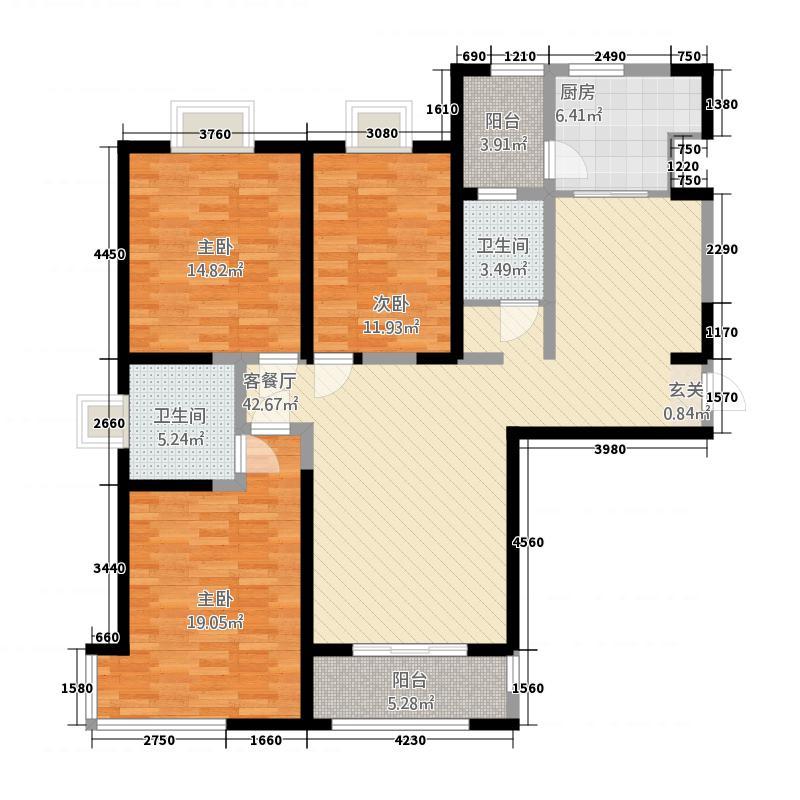 伟业中央公园161.63㎡户型3室2厅2卫1厨