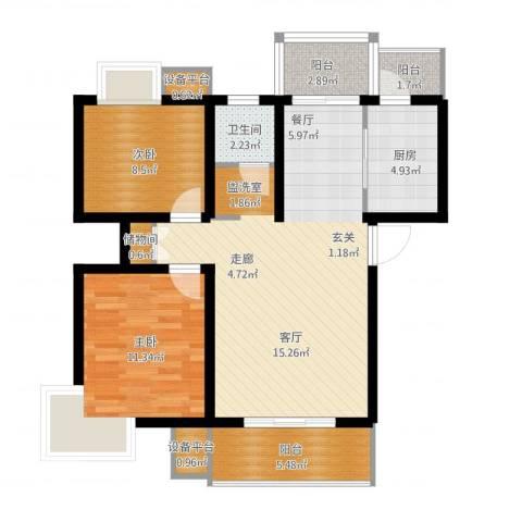 天房翠海红山2室1厅1卫1厨100.00㎡户型图