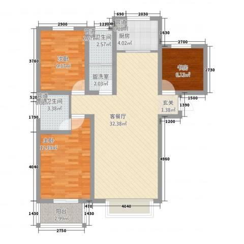 海悦凌江美墅3室2厅2卫1厨111.00㎡户型图
