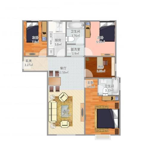 经纬城市绿洲武清二期4室2厅2卫1厨113.00㎡户型图