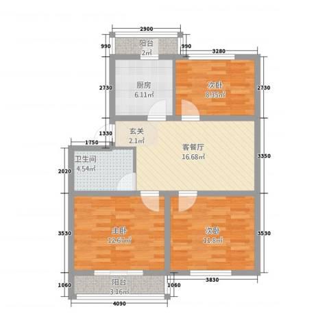 银塔馨苑3室1厅1卫1厨65.31㎡户型图