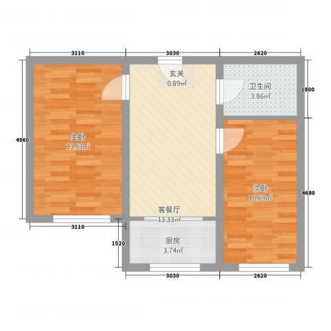 实华・新家源2室1厅1卫1厨65.00㎡户型图