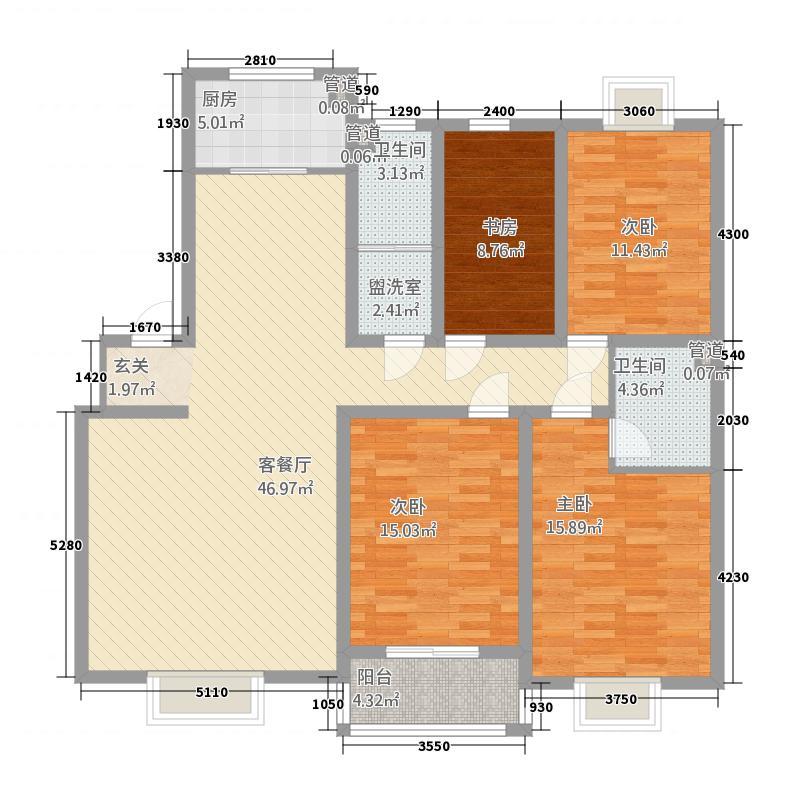 昕聚园168.83㎡6#F2户型4室2厅2卫1厨
