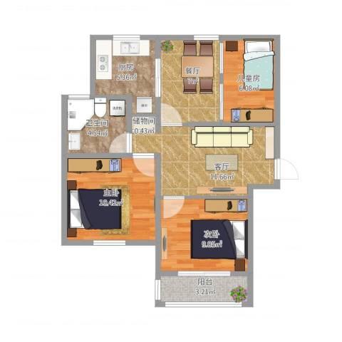 南苑六村3室2厅1卫1厨83.00㎡户型图