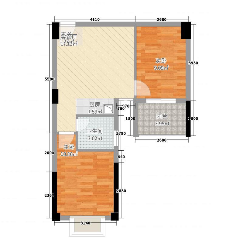 江南中央金地2163.20㎡F户型2室1厅1卫