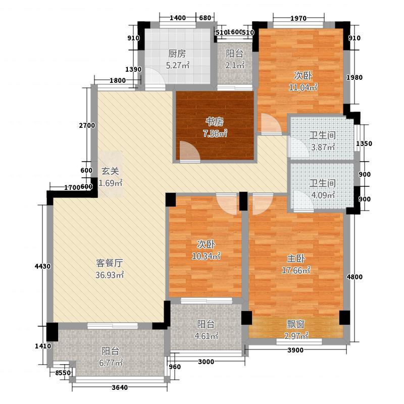 鸿都・英伦首府127.20㎡C2户型4室2厅2卫1厨