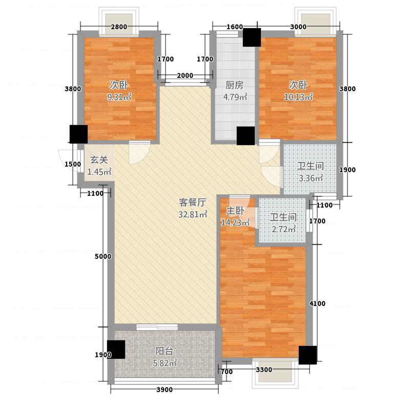 武夷山万兆国际8114.20㎡B-8户型3室2厅2卫1厨