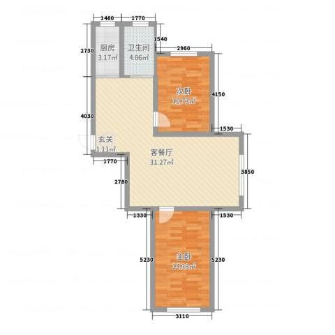 实华・新家源2室1厅1卫1厨63.56㎡户型图