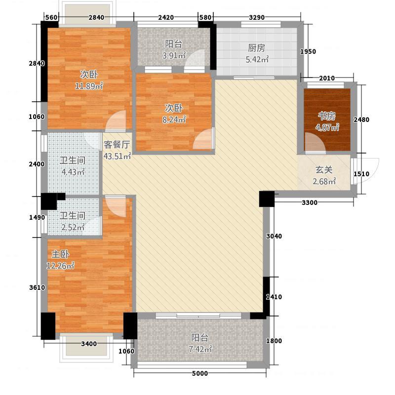 国际商品城三期尚东一品北区5栋04单元户型4室2厅2卫1厨