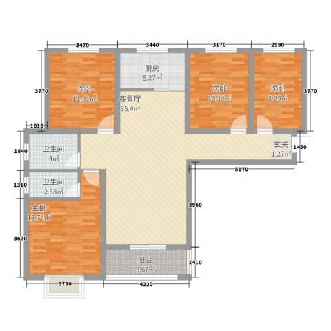 紫东国际4室1厅2卫1厨5422137.00㎡户型图