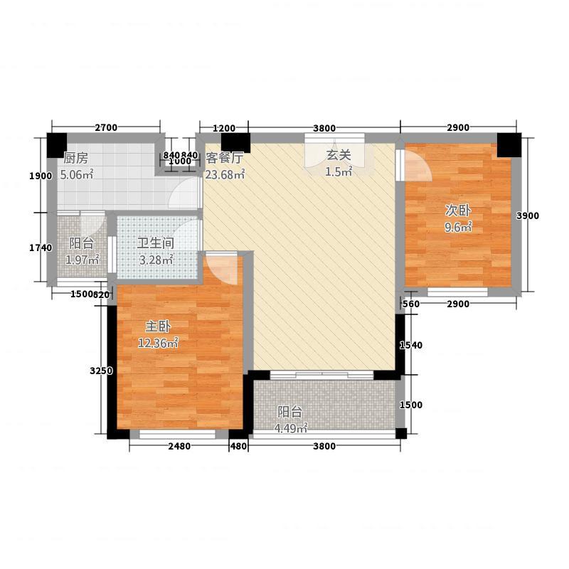 蓬莱花园8.37㎡A户型2室2厅1卫1厨