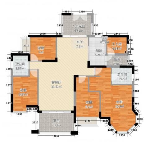 花桥BOVO商务商墅4室1厅2卫1厨162.00㎡户型图
