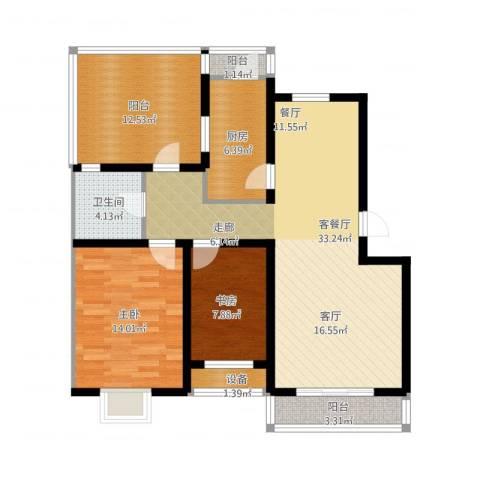 乐东馨园2室1厅1卫1厨121.00㎡户型图