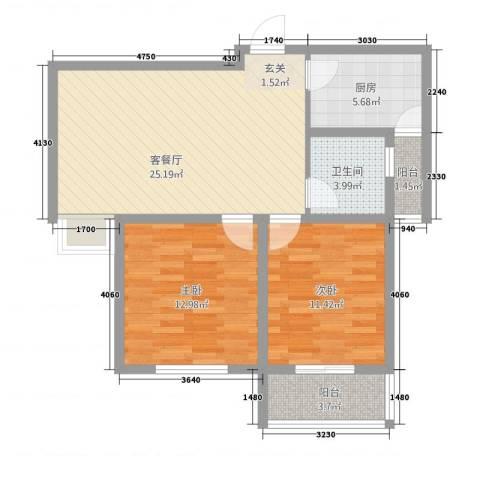 紫东国际2室1厅1卫1厨12212.00㎡户型图