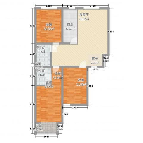 博爱雅苑3室1厅2卫1厨118.00㎡户型图