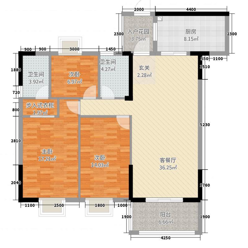 熙园凯旋国际132.22㎡C3户型3室2厅2卫1厨