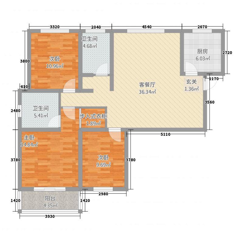 紫东国际3322135.25㎡户型3室2厅2卫1厨