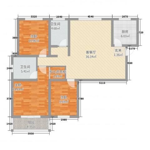 紫东国际3室1厅2卫1厨3322135.00㎡户型图