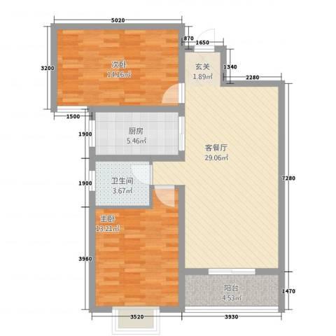 紫东国际2室1厅1卫1厨4221.00㎡户型图