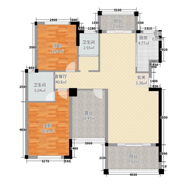 蓬莱花园125.70㎡E户型3室2厅1卫1厨