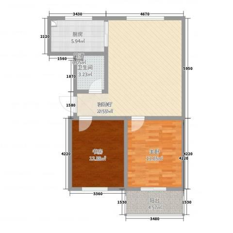 星河城2室1厅1卫1厨96.00㎡户型图