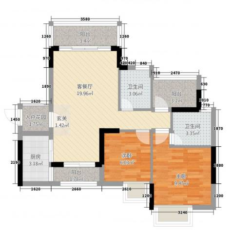 腾峰天伦华府2室1厅2卫1厨82.00㎡户型图