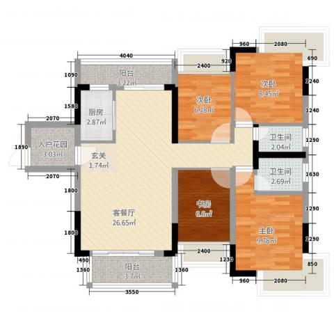 腾峰天伦华府4室1厅2卫1厨114.00㎡户型图