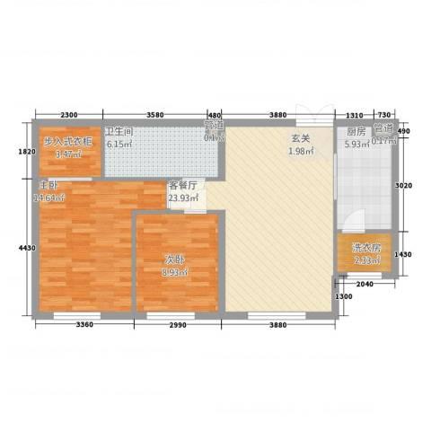 中央悦城2室1厅1卫1厨97.00㎡户型图