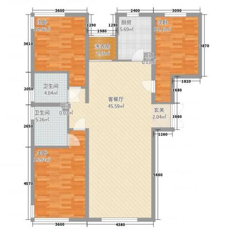中央悦城3室1厅2卫1厨153.00㎡户型图