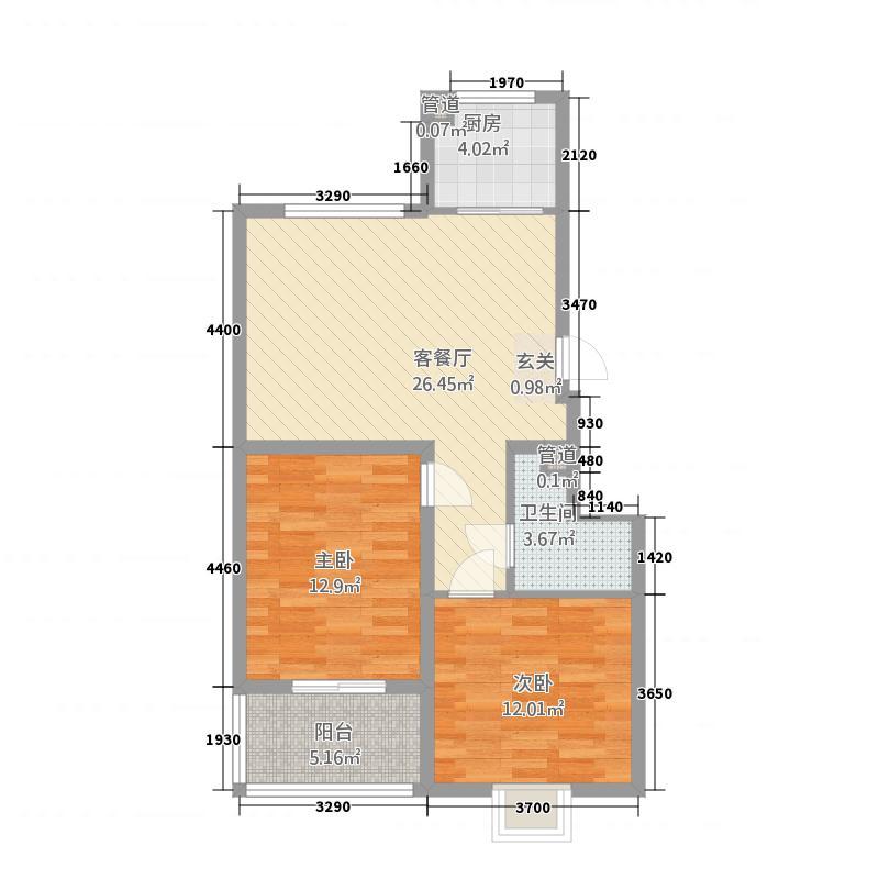 昕聚园7.71㎡1#B户型2室1厅1卫1厨