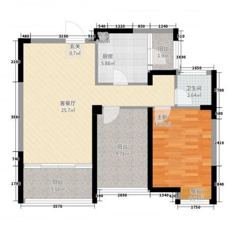 华嬉盛世1室1厅1卫1厨92.00㎡户型图
