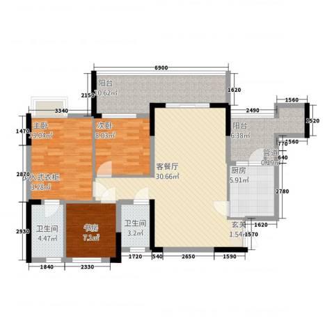 汉水公寓3室1厅2卫1厨158.00㎡户型图