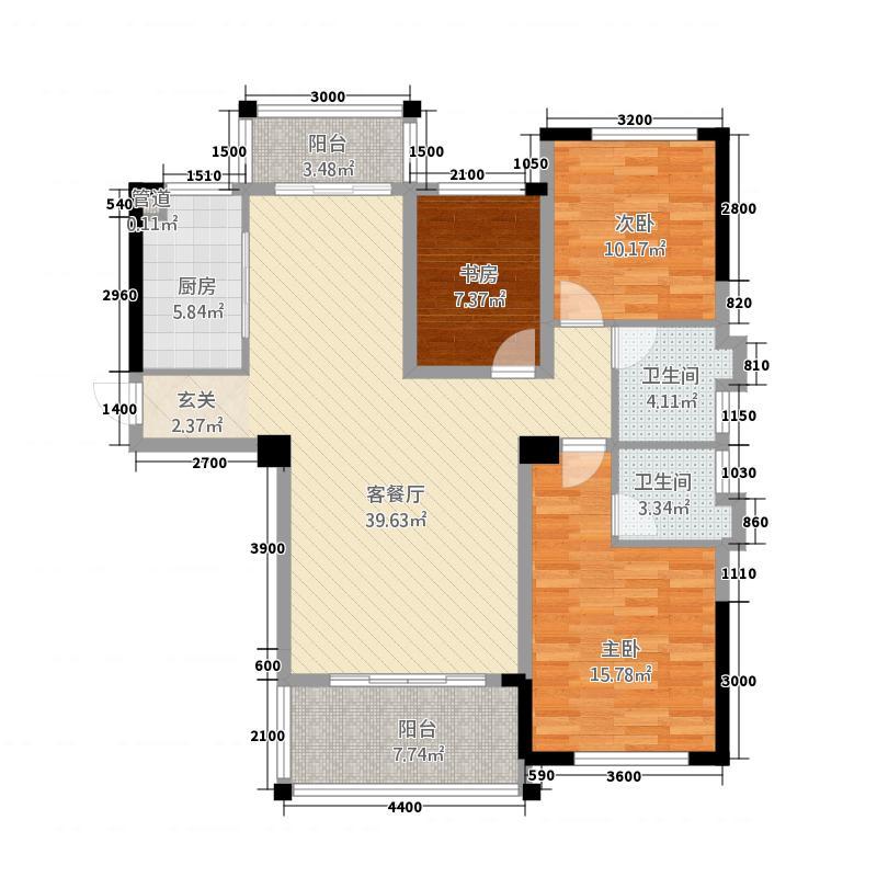 蓬莱花园127.14㎡D户型3室2厅2卫1厨